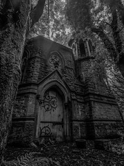 Vaenol estate mausoleum (aronaled) Tags: spooky old abandoned gothic mausoleum architecture wales vaenol northwales trees forest scary