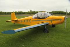 G-AYFE (Rob390029) Tags: druine condor d62b gayfe green blue yellow aircraft transport transportation plane civil civilian aviation travel traveling prop propeller light eshott airfield
