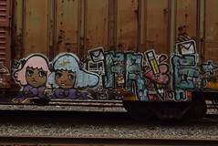 STELA FRIG (TheGraffitiHunters) Tags: street art train pencil hair graffiti colorful paint heart faces tracks spray envelope boxcar graff freight stela frig benched benching