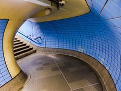 Redoubt (Douguerreotype) Tags: city uk blue england urban london stairs underground subway metro britain tube steps tunnel tiles gb british