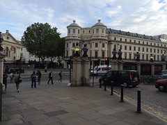 Good Morning London (My photos live here) Tags: london charing cross station capital city urban forecourt the strand early morning pavement posts england iphone 5s