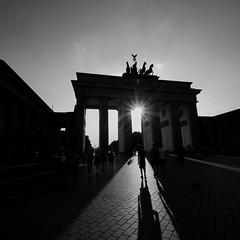 Brandenburg Gate, Berlin (PeskyMesky) Tags: berlin brandenburggate brandenbergtor germany pov pointofview shadow lowsun longshadow canon canoneos500d monochrome bw blackandwhite blackwhite