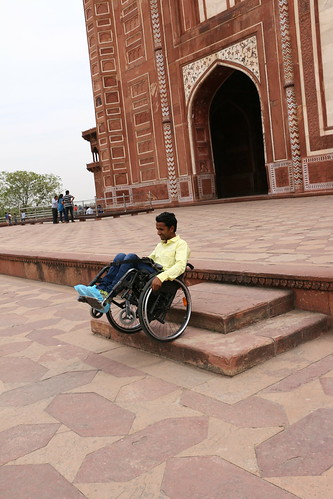 A wheelchair user enjoying the Heritage Tour