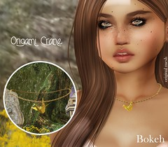 The Golden Crane (Pamela Igalies / Bokeh) Tags: bonvoyage event jewelry necklace origami japanese japan paper gold silver precious bokeh bokehstore originalmesh sl secondlife virtual mesh crane papercrane golden bird peace