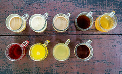 Tasting the Bali drinks - Visit to a coffee plantation (Maria_Globetrotter) Tags: 2016 fujifilm indonesia mariaglobetrotter dscf46872 coffee tea cacao drink drining testing bali sightseeing red brown yellow