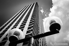 Micro Orbits (Fred-Adams) Tags: architecture fredadamsphotography july2016 london barbican brutal brutalism brutalist cityoflondon concrete design fredfredadamsphotographycom modernarchitecture orbit postmodern skyscraper streetlights