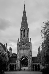 Hampstead Cemetery chapel (MoreToJack) Tags: london church hampstead hampsteadcemetery blackandwhite bw gothic architecture neogothic cemetery chapel