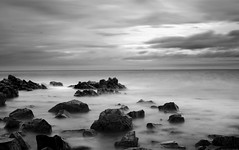 rocky long exposure (Twenty-21) Tags: long exposure seascape sea water rock beach shore northumberland holy island black white b w ten stop filter