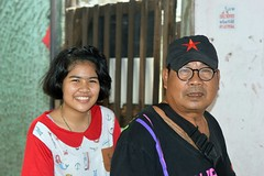 father and daughter on a motorcycle (the foreign photographer - ) Tags: aug142016nikon father daughter red star cap khlong bang bua portraits bangkhen bangkok thailand nikon d3200