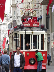 Riding the Tram, Istiklal Caddesi, Beyolu, Istanbul, Turkey (PaChambers) Tags: life street city boy people urban danger turkey grande dangerous europe honeymoon trkiye streetphotography tram istanbul rue turks turkish eurasia constantinople independenceavenue 2014 pera beyolu istiklalcaddesi bospherus istiklalavenue granderuedepera nostalgicistiklalcaddesitram autumn2014