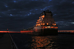 Grainy but B U Tiful (GLC 392) Tags: city bridge blue sunset sky orange lake plant beautiful clouds river paper fire lights republic power outdoor michigan ships great lakes swing corporation american packaging grainy coal fleet asc relfection pca manistee freighters filer tondu