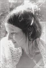 Douce poque de l'insouciance.... (sophie.lamidiaux) Tags: portrait noir et blanc visage flou romantique sourire cheveux lumire