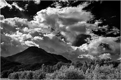 Omega Mountain, Clouds (martincarlisle) Tags: omegamountain squamish britishcolumbia canada seatoskyhighway highway99 mamquamriver trees mountains clouds sky pentaxk5 pentaxians pentaxart tamronlenses niksoftware colourefex silverefexii blackandwhite monochrome