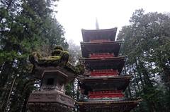 Nikko Toshogu IV (Douguerreotype) Tags: shrine nikko rain buddhist temple japan lantern pagoda tree moss red