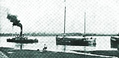 Steam tug boat towing sugar barges - 1915 (SSAVE w/ over 5 MILLION views THX) Tags: river taiwan sugar transportation formosa sugarcane barges japaneseoccupation sugarproduction sugarindustry steamtugboat