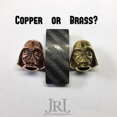 Which one Copper or Brass? Comment below  #jenniferrayjewelry #jrj #jrjcarbon #carbonfiber #darth #santibead #nom925 #4x4 #copper #brass #edc #vote (JenniferRay.com) Tags: instagram carbon fiber jewelry exclusive jrj jennifer ray paracord custom