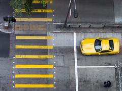 Grand Theft Auto 1 (Kevin Lloyd) Tags: road street yellow hongkong mercedes crossing olympus topdown lookingdown gta grandtheftauto slk viewfromabove wanchai omdem5