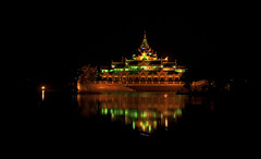 Brurmese Royal Floating Palace (mysticislandphoto) Tags: travel burma myanmar palace royal floating yangon nightime night reflection