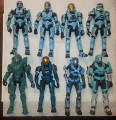 AquaSpartans (AomiArmster) Tags: halo mcfarlane spartan centurion aqua blue teal kat unsc scout hazop eva odst eod cyan cyansquad