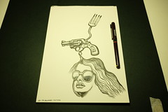 Sketch / ink #003 (Sellanes Sketch Journal) Tags: sketch drawing art artwork smithwesson weapon revolver girl girls dibujo fork ink inkart pen sellanes