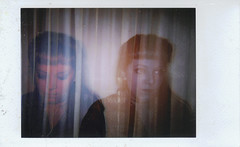 Existential Crisis (H o l l y.) Tags: lomography fuji instax analog instant film double exposure self portrait flash red blue curtains girl fashion existential retro indie vintage
