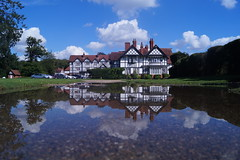 An English country house (christianbartlett) Tags: lincolnshire woodhallspa petwood countryside country outdoor rural ruralcharm reflections reflection water sun sunshine sunlight buildings architecture blue