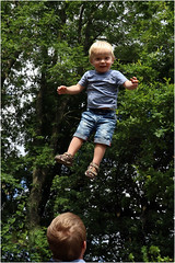 """""""Charlie! What are you doing up there? Come down NOW!"""" (RestlessFiona) Tags: 16thaugust2016 child charlie intheair trees boy restlessfiona"""