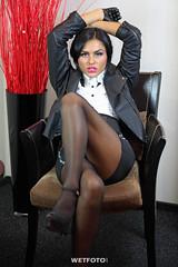 Wetlook in Leather Jacket and Tights #264 (Wetlook with WetFoto.com) Tags: wetlook wetfoto wetgirl brunette wethair getwet swimming fullyclothed leatherjacket shirt skirt tights heels jacuzzi bath