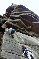 Belaying two at once! (Mike-Lee) Tags: mike grit climb derbyshire peakdistrict steph gear climbing peter edgar routes ropes rockclimbing gareth leading stanage gritstone stanageedge seconding may2015 tclimb ywodogs