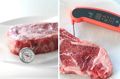 measuring temperature of steak with thermometer (yourbestdigs) Tags: black cooking kitchen raw oven beef ham meat well pork steak poultry meal heat medium temperature thermometer done grilled controller utensil measuring celsius
