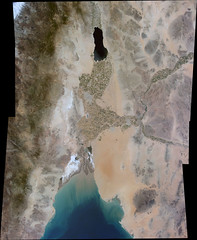 From the Salton Sea to the Gulf of California, variant (sjrankin) Tags: 11july2016 edited panorama iss iss048 iss048e23600 iss048e23601 iss048e23602 bajacalifornia southerncalifornia california mexico saltonsea gulfofcalifornia desert seaofcortez pacificocean