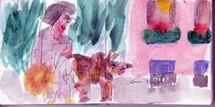 warum der Hund immer an der Leine zog, wenn sie an Gabis Fenster vorbei kamen, das wusste Gott allein (raumoberbayern) Tags: auto city pink winter dog bus fall smart car pencil paper munich mnchen landscape herbst tram sketchbook hund stadt papier landschaft bleistift robbbilder skizzenbuch strasenbahn