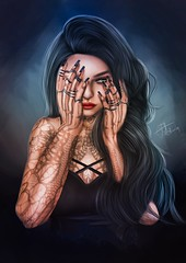 I will prove myself strong when they think I am sick. I will prove myself brave when they think I am weak. (akashiy) Tags: secondlife colors blue red black indoor vivid girl woman tattoos