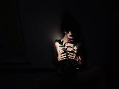 (LaSandra.) Tags: light shadow selfportrait plant girl dark room sandralazzarini
