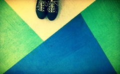 Shoes on Carpet (mark.aizenberg) Tags: blue abstract green colors lines yellow carpet triangle shoes shapes indoor iphone 6s