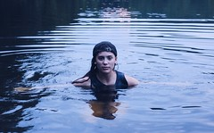 If I'm losing a piece of me maybe I don't want heaven (emmamilan) Tags: tripod selfportrait photography canon green blue water lake me forest hiking swimming