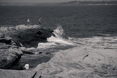 Watch out ! / Attention ! (CTfoto2013) Tags: ocean ri light sea sky bw usa seascape blancoynegro beach nature water monochrome rock america landscape boats lumix coast seaside marine rocks eau waves mood sailing noiretblanc outdoor newengland wave atmosphere nb bn panasonic rhodeisland shore lumiere sail cote vague vagues plage atlanticocean reflets jamestown backwash rochers maree plaisance rivage rockformation seacape voiliers borddemer oceanatlantique ressac mareebasse paysagemarin gx7