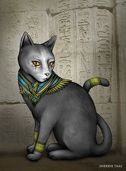 Bastet Egyptian Cat Art by Sherrie Thai (shaire productions) Tags: art illustration egyptiancat feline cat egypt mythology pet royal royalty animal bastet goddess bast warrior ancientegypt egyptianmythology egyptology hieroglyphics temple templeofkarnak sekhmet protection joy family blackcat creation digital mixedmedia photography pen