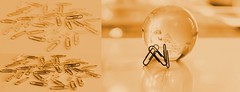 Gold all over (Gillian Everett) Tags: tsc triptych gold paper clip globe