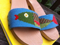 Needlepoint fish sandals (closeup) (victowood) Tags: shoes handmade sandals needlepoint