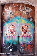 Graffiti (jorapa) Tags: barcelona catalunya espaa bcn graffiti spray streetart street color door
