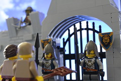 Guards standing watch (ronnieganajr) Tags: lego legocastle castle knights knightskingdom gate medieval peasant crossbow toyphotography knight watch