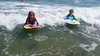 The Kids Boogie-Boarding (Joe Shlabotnik) Tags: galaxys5 ocean 2016 higginsbeach boogieboard violet maine july2016 cameraphone everett beach