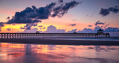 Folly Pier Sunrise (toddmwise) Tags: art southcarolina sunset sunrise sun summer sea sc sand scenery sky flickr follybeach folly photography pier pleasant landscape lowcountry light lightroom canon clouds canon6d charleston colors cloud carolina ocean seascape reflections reflection silhouette