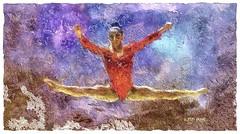 Olympic Gold Gymnast (Leo Bar) Tags: painting pixinmotion gymnastics olympics goldmedal colors leobar texture artwork dance digitalart awardtree netartii usagymnastics rio alyraisman