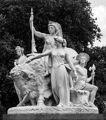 America at the Albert Memorial (f0rbe5) Tags: albertmemorial princealbert albert 1860s queenvictoria architecture architect sculpture achievement victorian scale opulence statue statues figures allegories references groups continents america johnbell bell indiantype mounted bison chargingbison charging unitedstates evergreenoakwreath evergreenoak wreath canada roseofengland mexico restless disturbed pantherskin looksforward hope usminister cfadams nervouslysensitive sensitive moreprimitive moreurgent moreactive primitive active urgent affection admiration popular marble bw monochrome kensingtongardens kensingtongore gardens park hydepark westminster london uk 2015