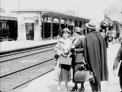 unnamed (annacarvergay) Tags: train station hat coat vintage fashion unnamed namethatfilm suitcase luggage railroad