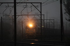 Light in the darkness (james.sanders2) Tags: blue mist mountains cold train evening mt diesel good transport under sydney engineering railway australia trains victoria class goods line container wires nsw freight pn kelso 81 intermodal 8138 comeng pacificnational 8155 8119
