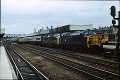 Class 37/0 no. 37045, Class 55 no. 55005 @ Doncaster, 06/07/1978 [slide 7813] (graeme9022) Tags: uk blue 3 english station electric train coast br diesel 5 main transport rail line east coco transportation type british locomotive express passenger 37 1970s railways napier failed livery mainline haulage deltic ecml hauled