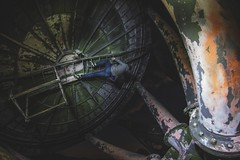 Inverted. (_RossMartin) Tags: uk abandoned beauty metal night canon climb dish tag tripod beam backpack whore scrap edit throwback invert